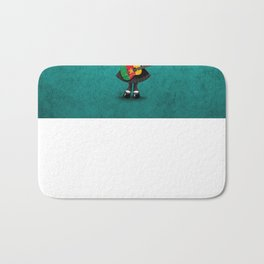 Day of the Dead Girl Playing Cameroon Flag Guitar Bath Mat