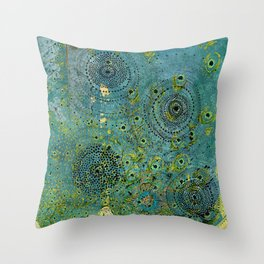 Blue & Green Abstract Art Collage Throw Pillow