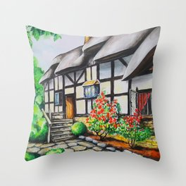 Anne Hathaway's Cottage. Watercolour Paining. Shakespeare Birthplace. Stratford-Upon-Avon. England. Throw Pillow