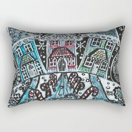 Christmas Snow Village on Black Rectangular Pillow