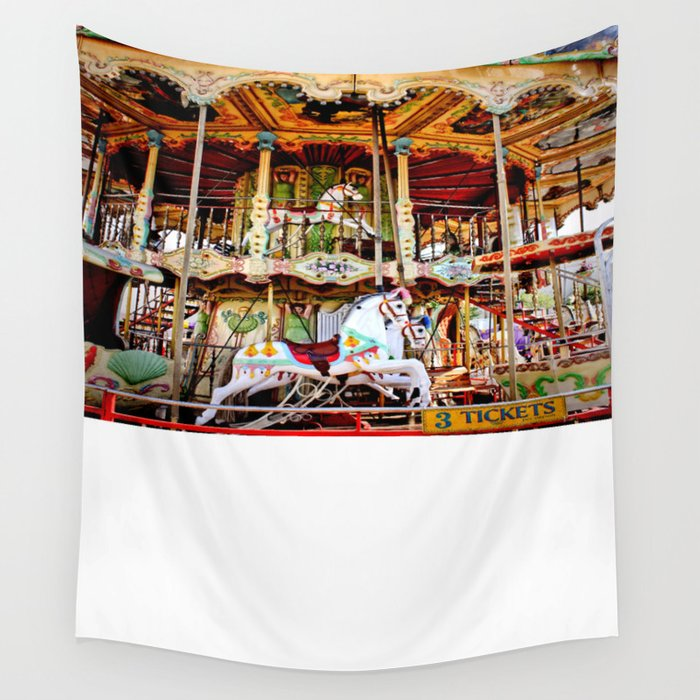 double decker carnival carousel horse wall tapestry by