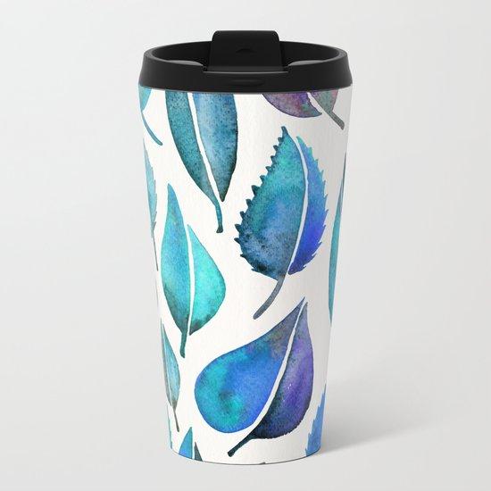 Cascading Leaves – Blue Palette Metal Travel Mug