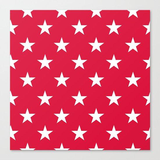 Stars (White/Crimson) Canvas Print