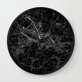 Florence Black Map Wall Clock