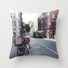 Bikes in Soho Throw Pillow