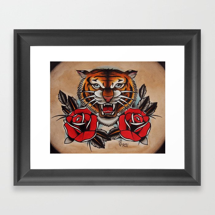 b31d1cd94 Old School Tiger and roses - tattoo Framed Art Print by gurumarques ...