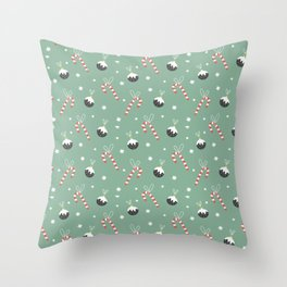 Christmas Candy Cane And Ornament Decor Throw Pillow