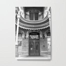 Doorway in Black & White Metal Print