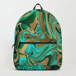 Green & Gold Liquid Marble Backpack