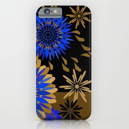 Cobalt and gold on black lacquer iPhone Case