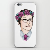wesley bird iPhone & iPod Skins featuring Flower Crown James Wesley by HayPaige