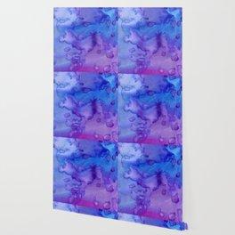 Blue purple pink hand painted watercolor pattern Wallpaper
