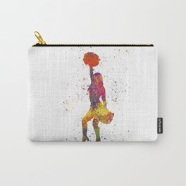 young woman Cheerleader Art Girl Poms Dance in watercolor 09 Carry-All Pouch