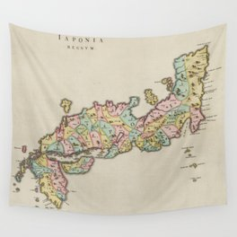 Vintage Map of Japan (1665) Wall Tapestry