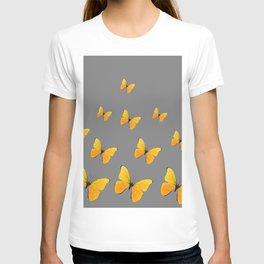 YELLOW BUTTERFLIES CHARCOAL GREY ART T-shirt