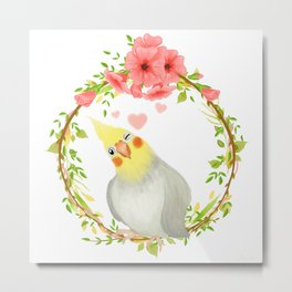 With Love From The Sweetest Cockatiel Metal Print