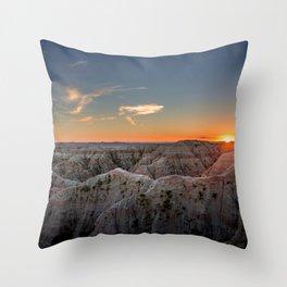 South Dakota Sunset - Dusk in the Badlands Throw Pillow