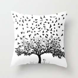 Crows in a tree Throw Pillow