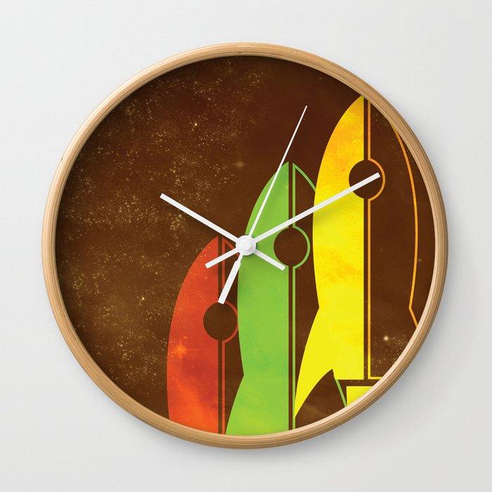 retro rocket ships wall clock by danieldevinney society6