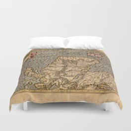 Vintage Map of Scotland Duvet Cover