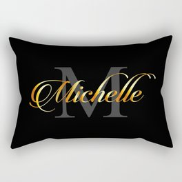 Name and initial of a girl Michelle in golden letters Rectangular Pillow