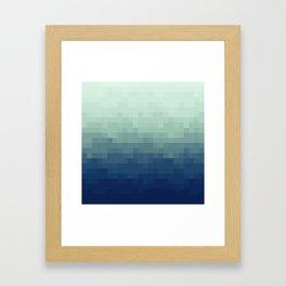 Gradient Pixel Aqua Framed Art Print