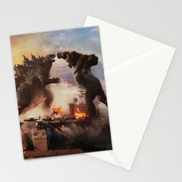 Godzilla vs King Kong Moster Fight Movies Art Print Decor Home Poster Full Size, Stationery Cards
