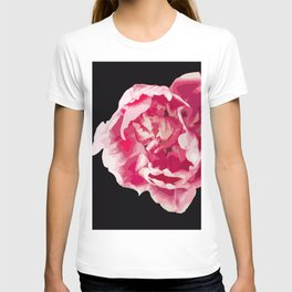Pink Tulip Flower On A Black Background #decor #society6 #homedecor T-shirt