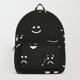 Sad face, happy face, smiley face, eyes heart face, crying face repeated black and white pattern Backpack