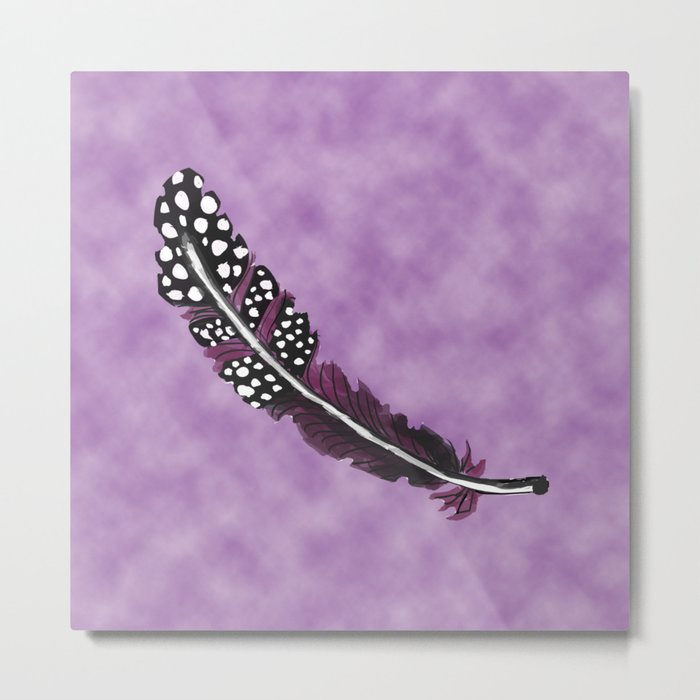 Watercolor Purple Feather with Spots  Metal Print