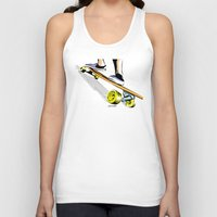 skate Tank Tops featuring skate by Cal ce tin