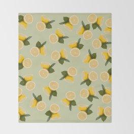 Yellow Citrus Lemon Fruit on Pale Lime Green Throw Blanket