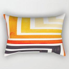 Orange Mid Century Modern Watercolor Colorful Ancient Aztec Art Pattern Minimalist Geometric Pattern Rectangular Pillow