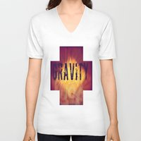gravity V-neck T-shirts featuring Gravity by Skye Rao