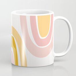 Abstract Shapes 37 in Mustard Yellow and Pale Pink Coffee Mug