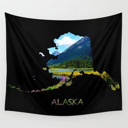 Alaska Outline - God's Country Wall Tapestry