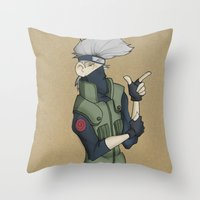kakashi Throw Pillows featuring Kakashi by Salva Laserna