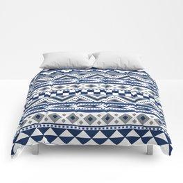 Tribal Art Pattern Navy Blue Silver White Comforters