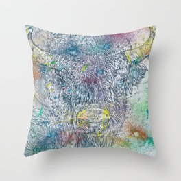 BISON - watercolor and pencil portrait Throw Pillow