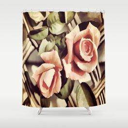 Vintage Rose Garden - Painterly Shower Curtain