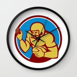 American Football Player Fend Off Circle Retro Wall Clock
