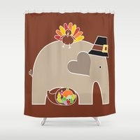 thanksgiving Shower Curtains featuring Happy Thanksgiving Elephant by Elephant Love