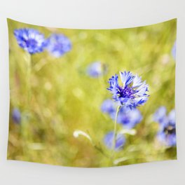 Bachelor Buttons Glowing Wall Tapestry