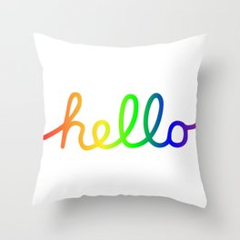 Oh Hello! Coloful Version Throw Pillow