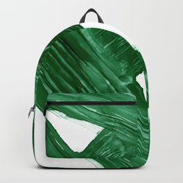 Emerald Crossroads, minimalistic emerald green and white, abstract lines, alcohol ink art, watercolor style Backpack