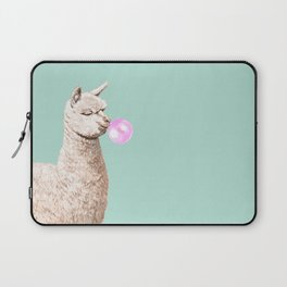 Playful Alpaca Chewing Bubble Gum in Green Laptop Sleeve