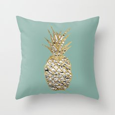 Modern Chic Marble Gold Pineapple Fruit Throw Pillow