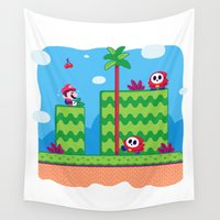 mario bros Wall Tapestries featuring Tiny Worlds - Super Mario Bros. 2: Mario by Paperbeatsscissors