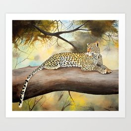 Painting of a Leopard on Lookout Art Print
