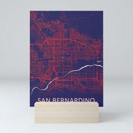 San Bernardino, CA, USA, Blue, White, City, Map Mini Art Print